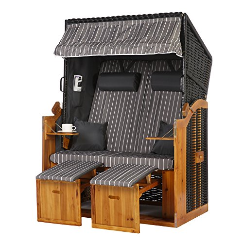 WODEGA Strandkorb XXL Volllieger Ostsee 2 Sitzer 120cm breit Grau Nadelstreifen PE-Rattan Schwarz ideal für Balkon,Terrasse,Garten