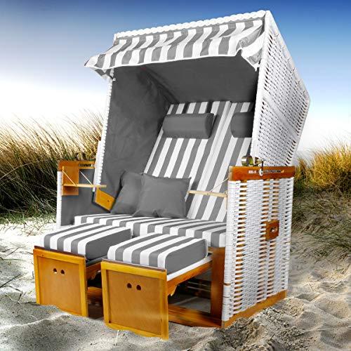 BRAST Strandkorb Nordsee XXL Volllieger Grau Weiß gestreift incl Schutzhülle 2 Sitzer 120cm breit Gartenliege Sonneninsel Poly Rattan