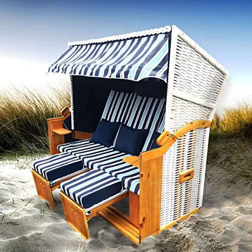 BRAST Strandkorb Ostsee 3-Sitzer 160cm breit Hellblau gestreift XXL Volllieger incl. Schutzhülle Gartenliege Sonneninsel Poly-Rattan
